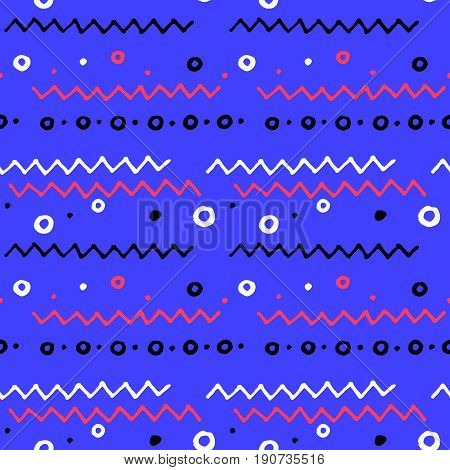 Nautical doodle pattern with abstract geometric shapes. Seamless pattern in nautical colors. Child drawing vector pattern. Abstract zigzag and dots on blue background. Square nautical decor background