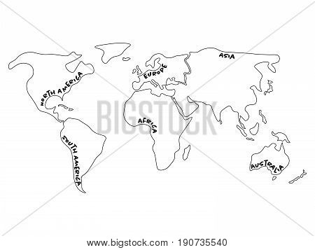 World map divided to six continents - North America, South America, Africa, Europe, Asia and Australia Oceania. Simplified outline vector map with continent name labels curved by borders.