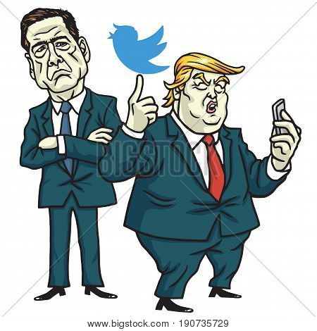 Donald Trump and James Comey Cartoon Vector. June 12, 2017