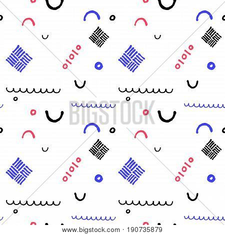 Minimal geometric vector seamless pattern in nautical palette. Seamless pattern in nautical colors. Child drawing vector pattern. Abstract zigzag and dots on white background. Nautical wrapping paper