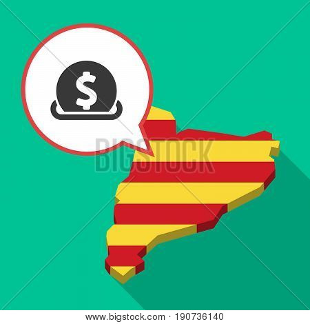 Long Shadow Catalonia Map With  A Dollar Coin Entering In A Moneybox