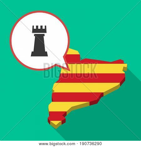Long Shadow Catalonia Map With A  Rook   Chess Figure