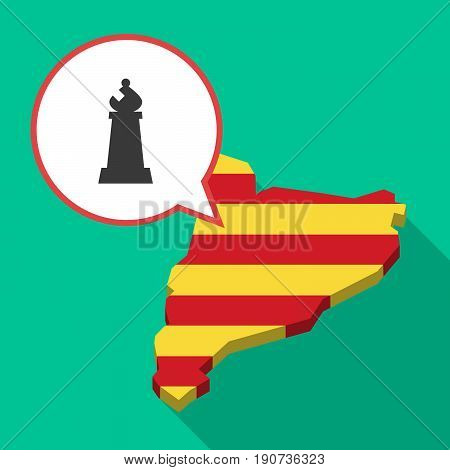 Long Shadow Catalonia Map With A Bishop    Chess Figure