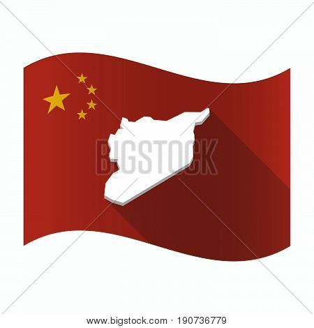 Waving China Flag With  The Map Of Syria