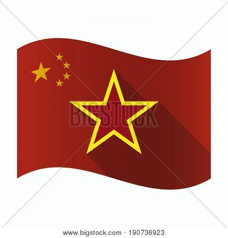 Waving China Flag With  The Red Star Of Communism Icon
