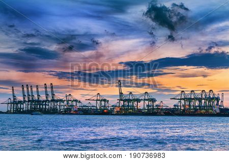 Terminal of cargo shipping at twilight., Heavy industrial