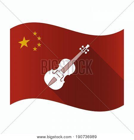 Waving China Flag With  A Violin
