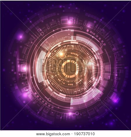 Abstract illustration in violet color symbolises the Universe and our planet. Is a good image for your businessm for presentation of your new and hi-tech product.