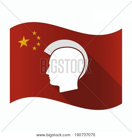 Waving China Flag With  A Male Punk Head Silhouette