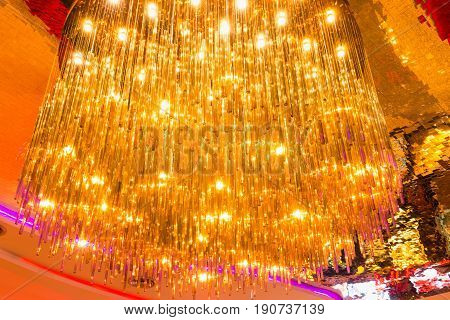 Colorful of chandelier and ceiling tiles., Interior