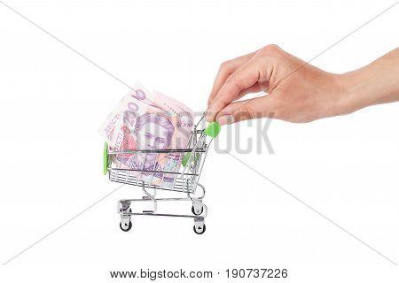 Two Hundred Hryvnias In The Shopping Pushcart, Light Background