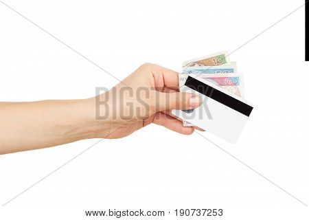 Fifty, Twenty And Ten Zloty With Credit Card In The Woman's Hand, Isolated