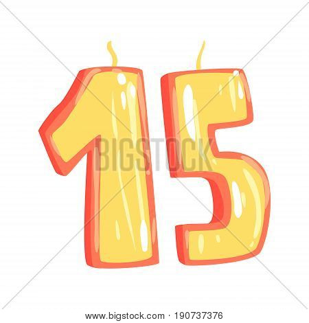 Birthday candles number 15 cartoon vector Illustration isolated on a white background