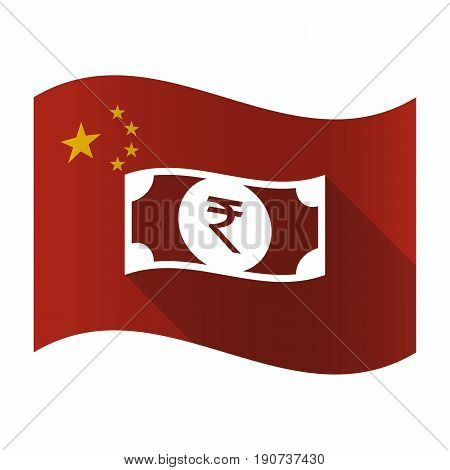 Waving China Flag With  A Rupee Bank Note Icon