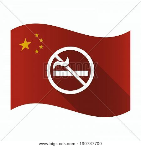 Waving China Flag With  A No Smoking Sign