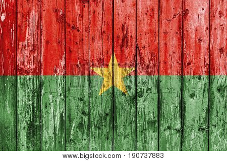 Flag of Burkina Faso painted on wooden frame