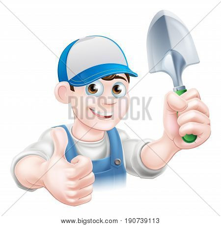 A cartoon gardener character holding a garden trowel and giving a thumbs up