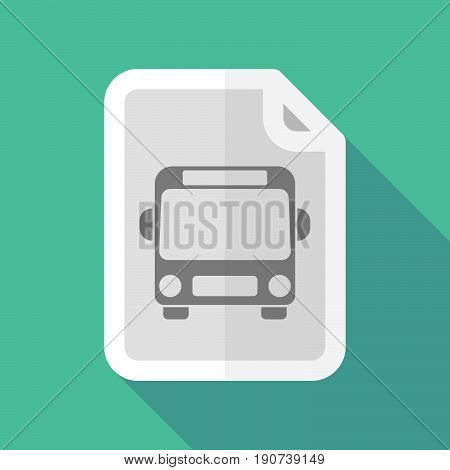 Long Shadow Document With  A Bus Icon