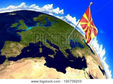 Macedonia national flag marking the country location on world map. 3D rendering, parts of this image furnished by NASA