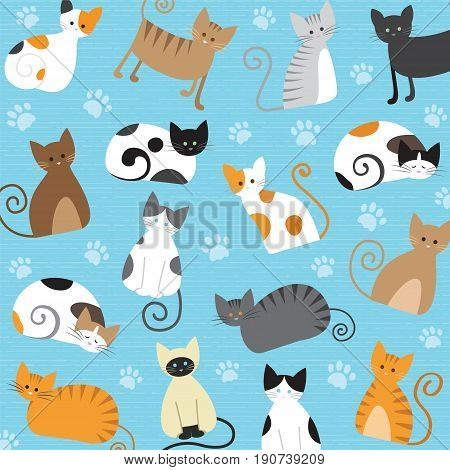 Cat Set with white grey orange brown black Cute cats flat icons. Vector Illustration Cartoon