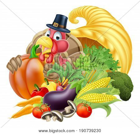 Thanksgiving golden horn of plenty cornucopia full of vegetables and fruit produce with cartoon turkey bird wearing a pilgrim or puritan thanksgiving hat