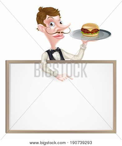 An illustration of a cartoon Waiter holding a tray with a burger on it  and pointing at a signboard