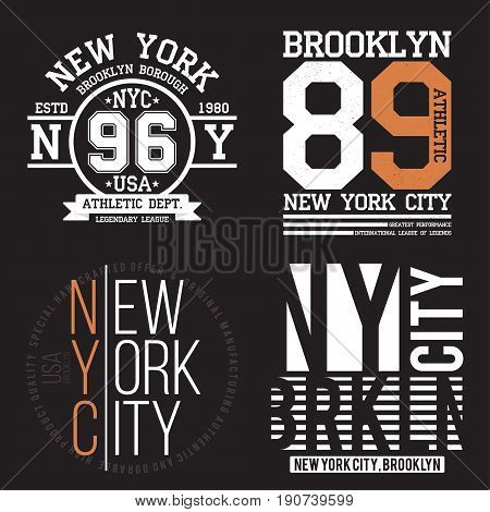 New York, Brooklyn Typography For T-shirt Print. Sports, Athletic T-shirt Graphics Set. Badge Collec