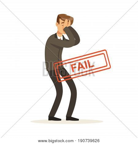Failed and stressed businessman character vector Illustration isolated on a white background