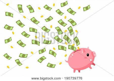 Concept of save money. Happy piggy bank with flying money. Flat design, vector illustration.