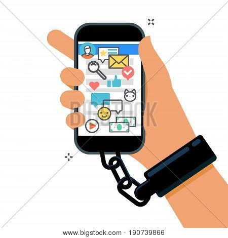 Concept of smartphone addiction. Hand is chained to the phone. Flat design, vector illustration.