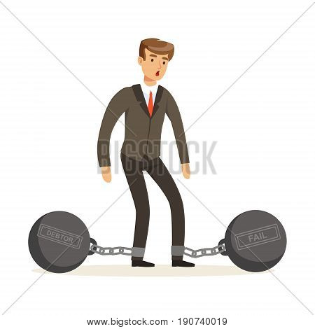 Office worker character with shackles vector Illustration isolated on a white background