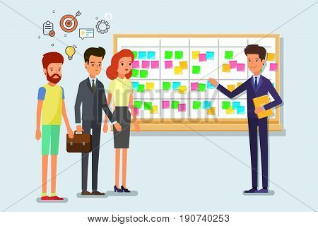 Cartoon scrum master. Business man and team at the scrum board. Scrum task board with sticky note cards. Flat design, vector illustration.