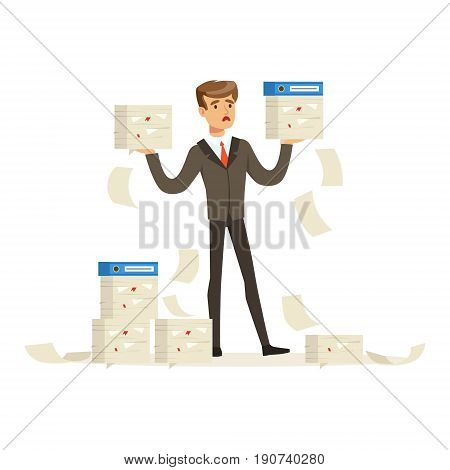Upset businessman holding a lot of documents, manager has a lot of job vector Illustration isolated on a white background
