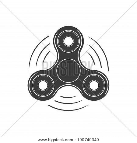 Fidget spinner icon isolated on white background. Stress relieving, hand spin toy icon. Vector illustration