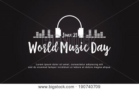 Celebration world music day style background vector flat