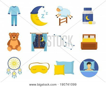Sleep time icons set in a flat style. Collection nap night bedtime isolated on white background. Vector illustration