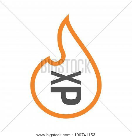 Line Art Flame With  A Tongue Sticking Text Face Emoticon