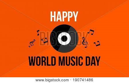 Background celebration world music day vector flat