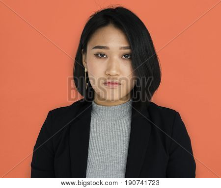 Asian Business Woman Unhappy Studio