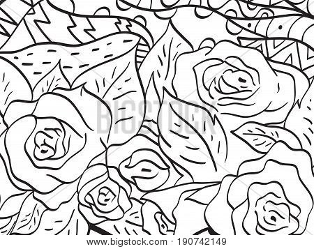 Pattern flower coloring book for adults vector illustration. Anti-stress coloring for adult. Zentangle style. Black and white lines. Lace pattern