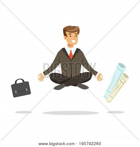 Young businessman sitting in lotus pose and meditating, briefcase and paper rolls flying around him vector Illustration isolated on a white background