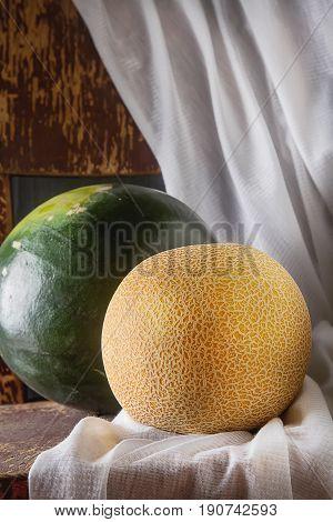 Melon And Watermelon Whole. Dark Wood Background. Autumn Photos.