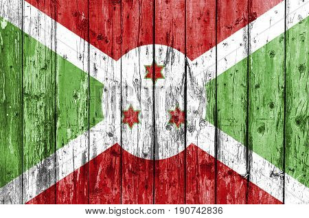Flag of Burundi painted on wooden frame