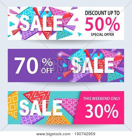 Sale banners, discount coupons template set for online shopping, mobile, website design. Social media promotional material, ads, email marketing, newsletter. Abstract shapes, vector Illustration