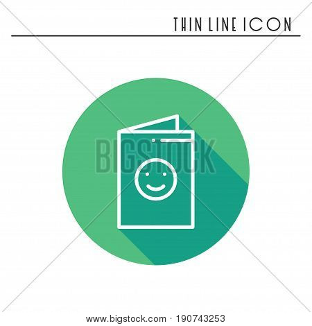 Happy birthday card icon. Party celebration birthday holidays event carnival festive. Thin line party element icon. Vector simple linear design. Illustration. Symbols. Congratulation. Postcard