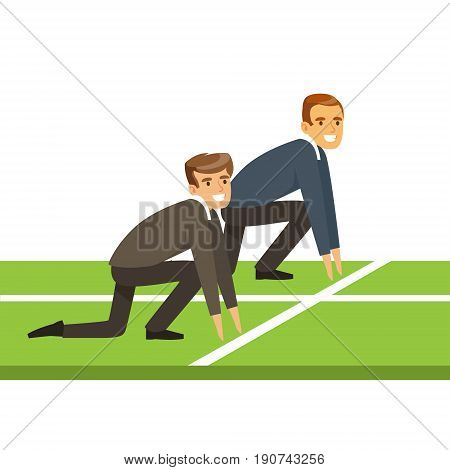 Business people at starting line on a race, business competition vector Illustration isolated on a white background