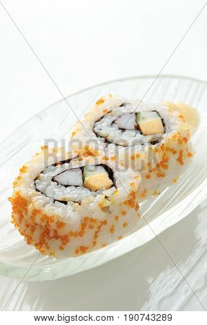 a japanese traditional cuisine of sushi roll