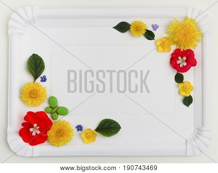 Meadow flower frame on white background. Top view