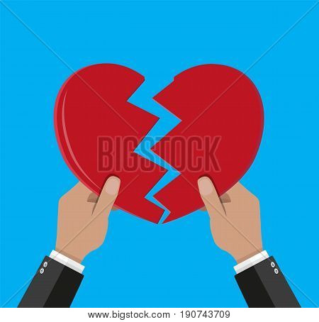 Hands tearing apart heart. Vector illustration in flat style