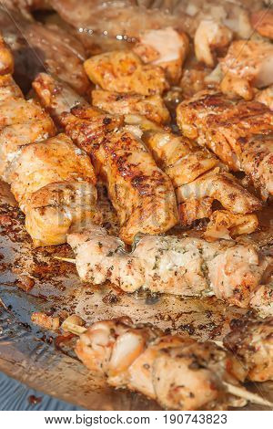 Salmon On A Skewer Grilled. Street Food.